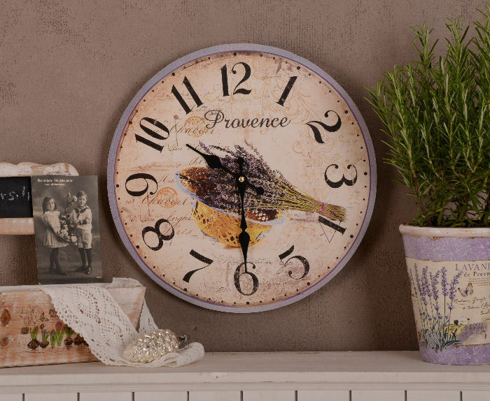 shabby chic wanduhr antik look lavendel vintage k chenuhr ebay. Black Bedroom Furniture Sets. Home Design Ideas
