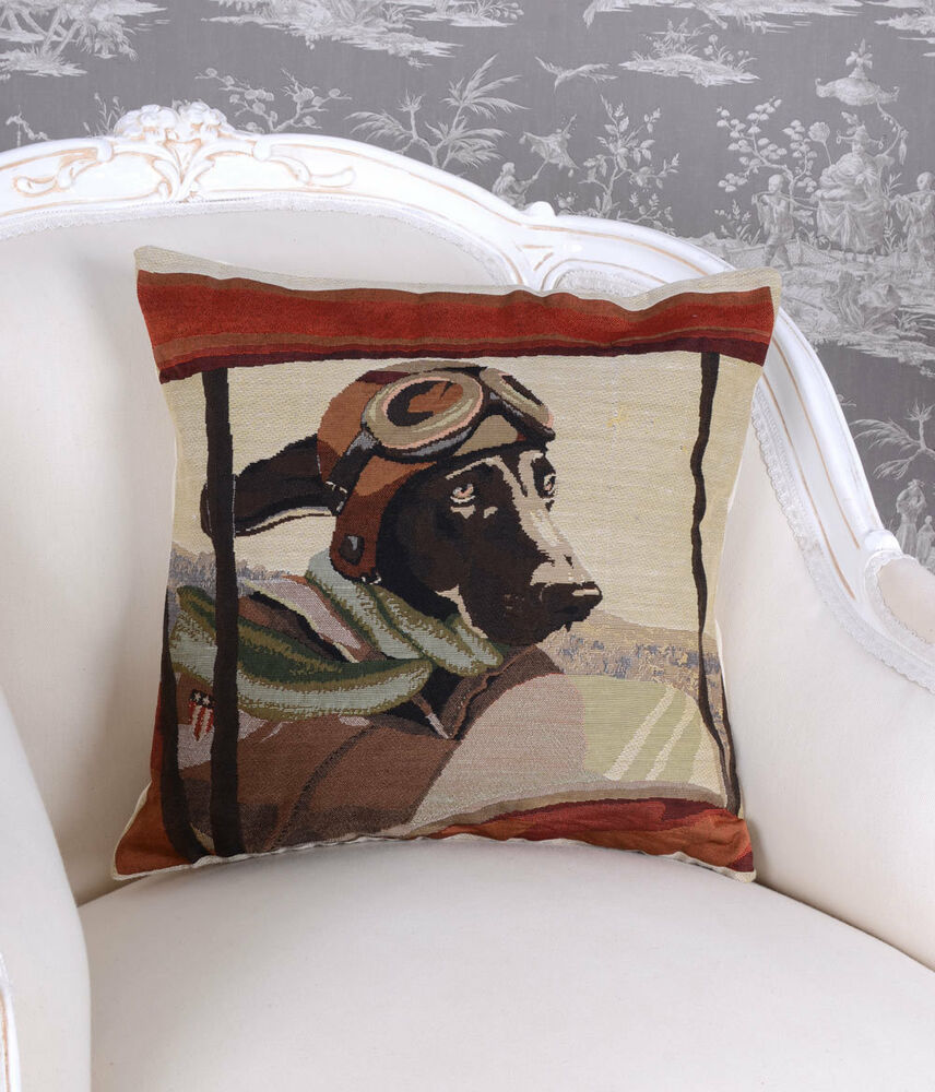dekokissen hund pilot kissen gobelin kissenh lle kissenbezug landhausstil h lle ebay. Black Bedroom Furniture Sets. Home Design Ideas