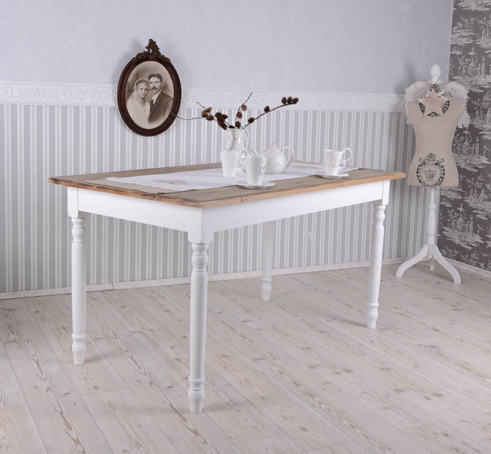 esszimmer tisch shabby chic esstisch weiss k chentisch wohnzimmertisch landhaus ebay. Black Bedroom Furniture Sets. Home Design Ideas