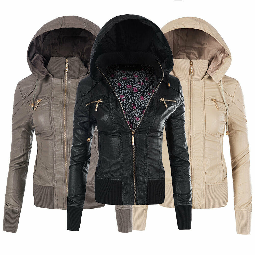 n538 damen jacke jacket kunstleder lederimitat lederlook blazer biker ebay. Black Bedroom Furniture Sets. Home Design Ideas