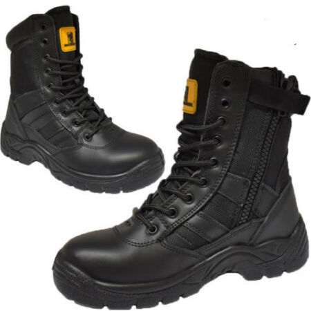 img-MENS LEATHER ARMY MILITARY COMBAT SHOES HIGH ANKLE PATROL SECURITY WORK BOOTS SZ