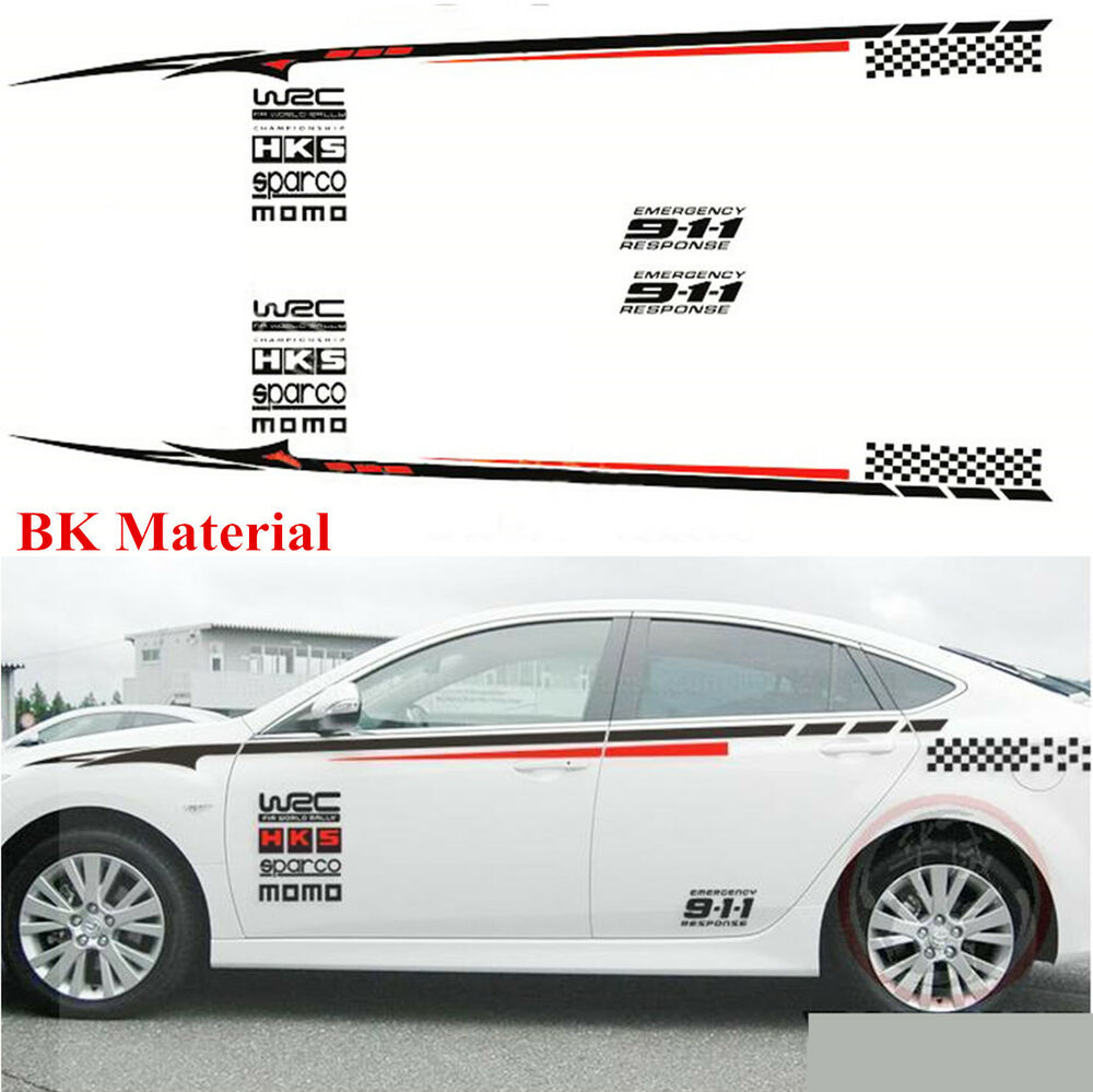 Details about 2x auto car styling side body bumper bk material decoration vinyl decal sticker