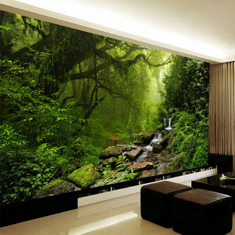 living room wall murals photo wallpaper 3d stereo forest nature landscape 12706