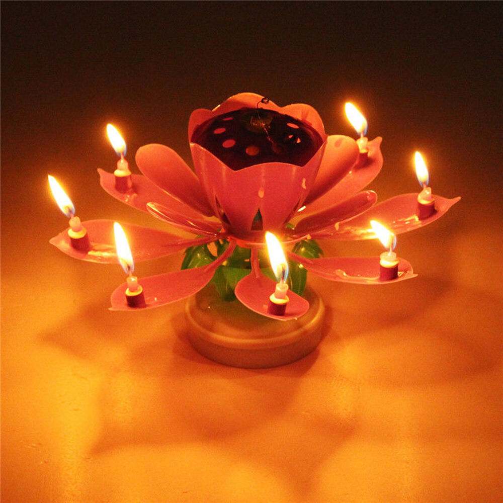 Candle Musical Rotating Lotus Flower Cake Topper Party Birthday Lamp