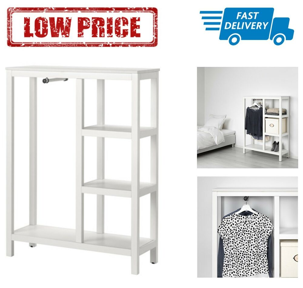 ikea hemnes open wardrobe white stained 99x130x37 cm ebay. Black Bedroom Furniture Sets. Home Design Ideas