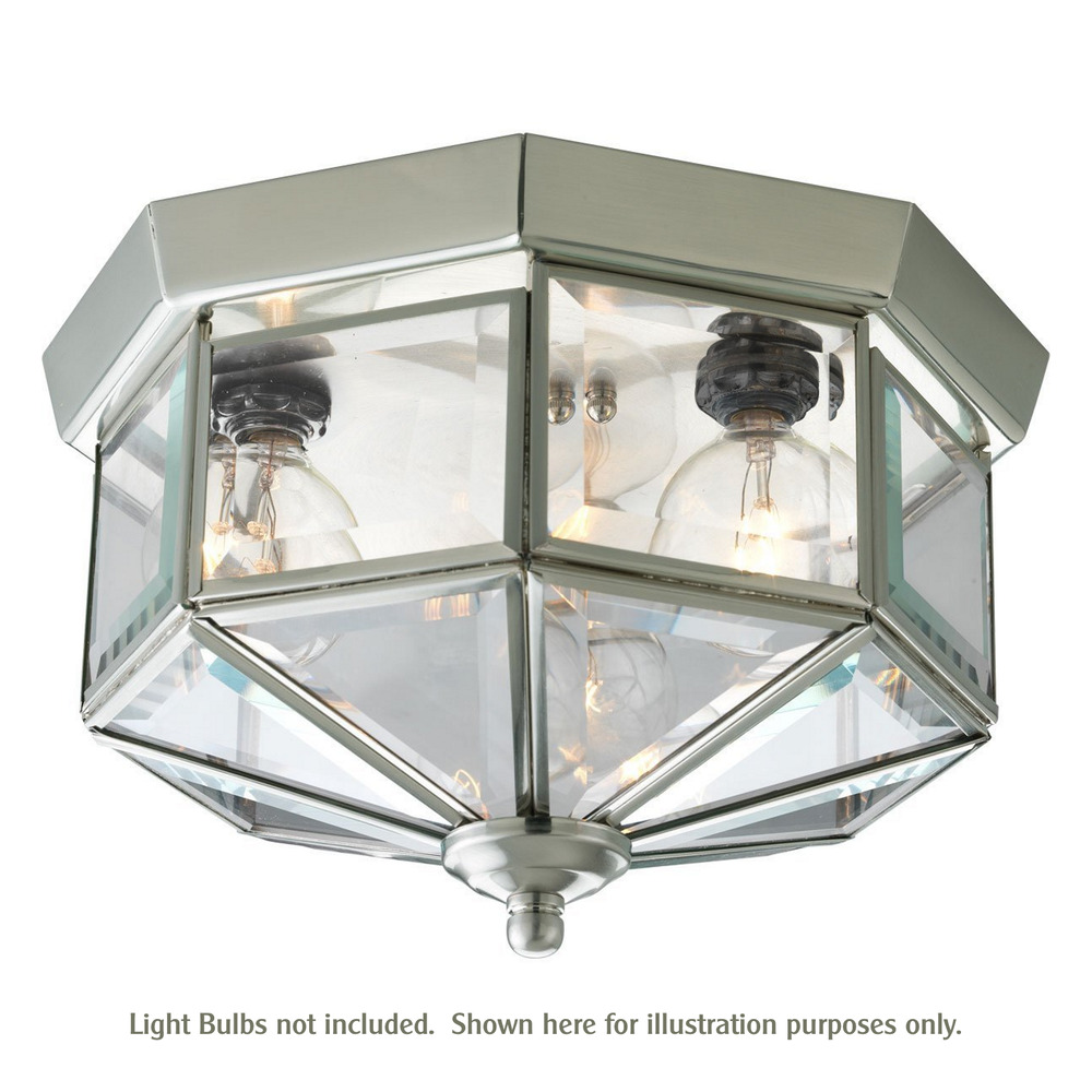 Ceiling Flush Mount 3-Light Octagonal Brushed Nickel Fixture Clear ...