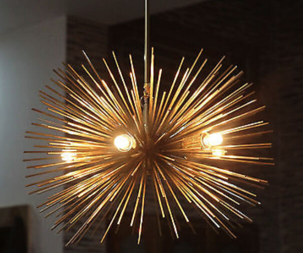 Mid Century Modern Chandelier Brass Light Fitting Sphere Urchin Sputnik 5bulb Ebay