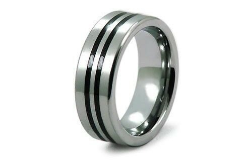 Objective Titanium 8mm Yellow Plated Ridged Edge Brushed Wedding Ring Band Size 8.50 Pretty And Colorful Bridal & Wedding Party Jewelry