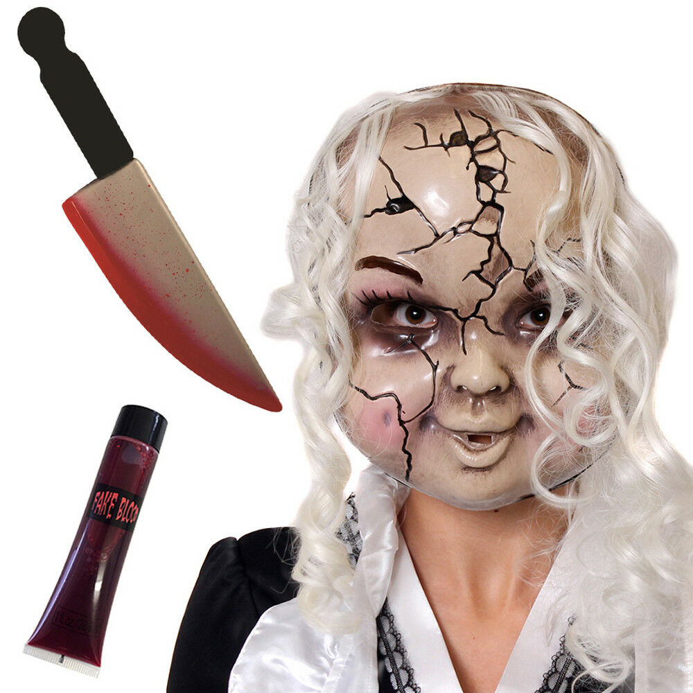 cracked doll mask fake knife and blood halloween fancy dress costume