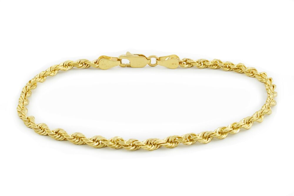 Real 14k Yellow Gold 2 5mm Diamond Cut Rope Chain Link