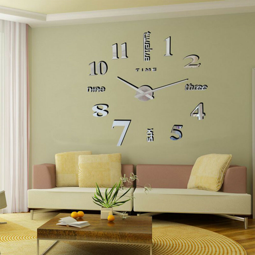 Diy 3d Large Number Mirror Wall Clock Self Adhesive