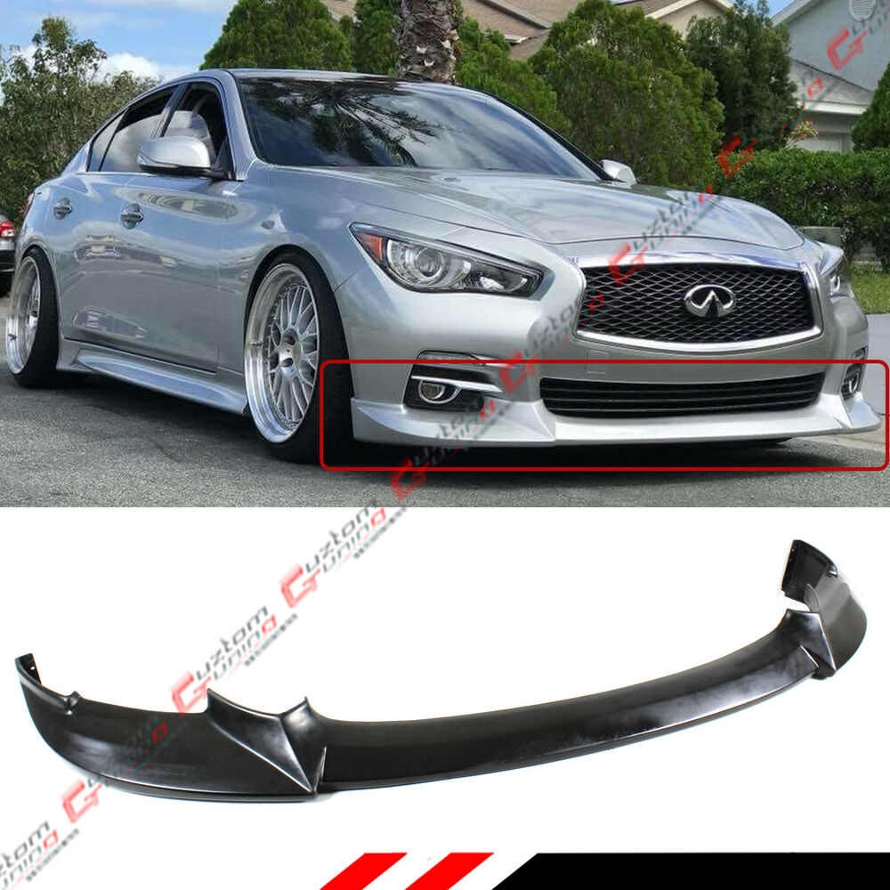 for 2014 17 infiniti q50 base premium jdm nis style front bumper lip unpainted ebay. Black Bedroom Furniture Sets. Home Design Ideas