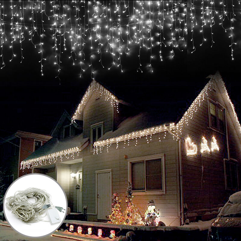 led wei 100leds 10m lichterkette strip au en weihnachten eisregen eiszapfen neu ebay. Black Bedroom Furniture Sets. Home Design Ideas