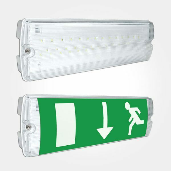 Led emergency light bulkhead exit sign ip65 3watt maintained or non maintained ebay for Exterior emergency exit lights