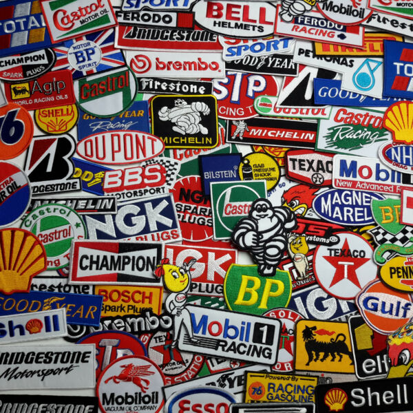 RACE SPONSORS PATCH STORE - Full Size Embroidered Iron-On Patches - 100 DESIGNS!