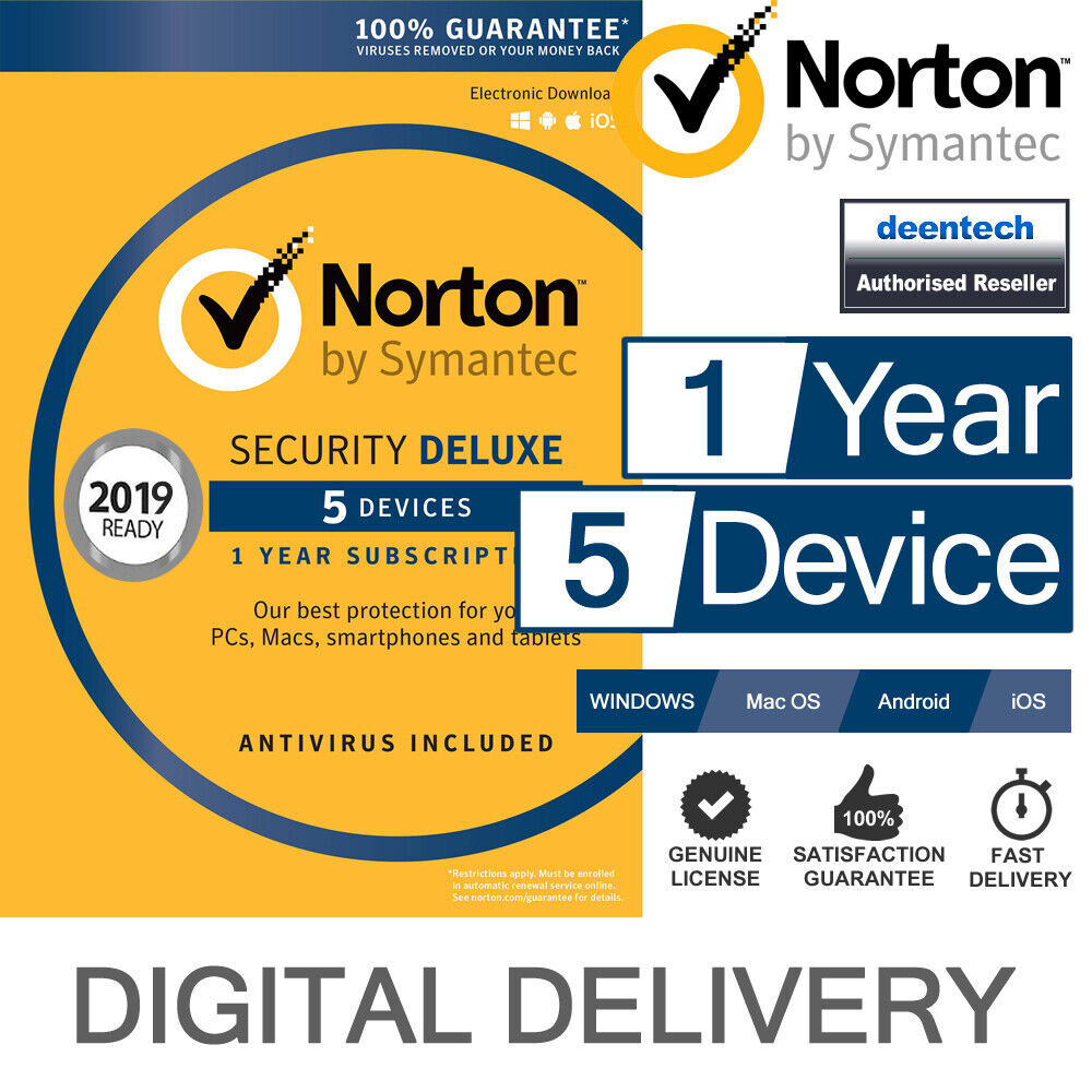 Norton Security Deluxe 2018 5 Devices 1 Year Internet