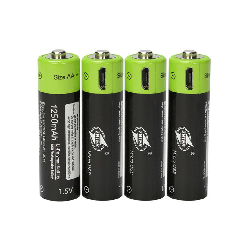 4pcs znter 1 5v aa 1250mah lithium rechargeable battery micro usb charging ebay. Black Bedroom Furniture Sets. Home Design Ideas