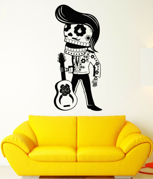 Vinyl Wall Decal Calavera Mexican Day Of The Dead Guitarist Stickers (1981ig)