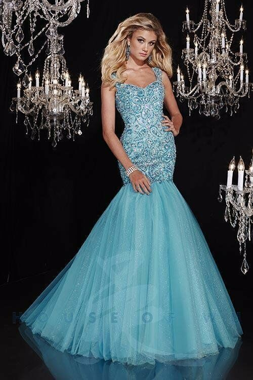 35a9ba7ff09a Details about Panoply 14787 Turquoise Mermaid Pageant Prom Gown Dress sz 2