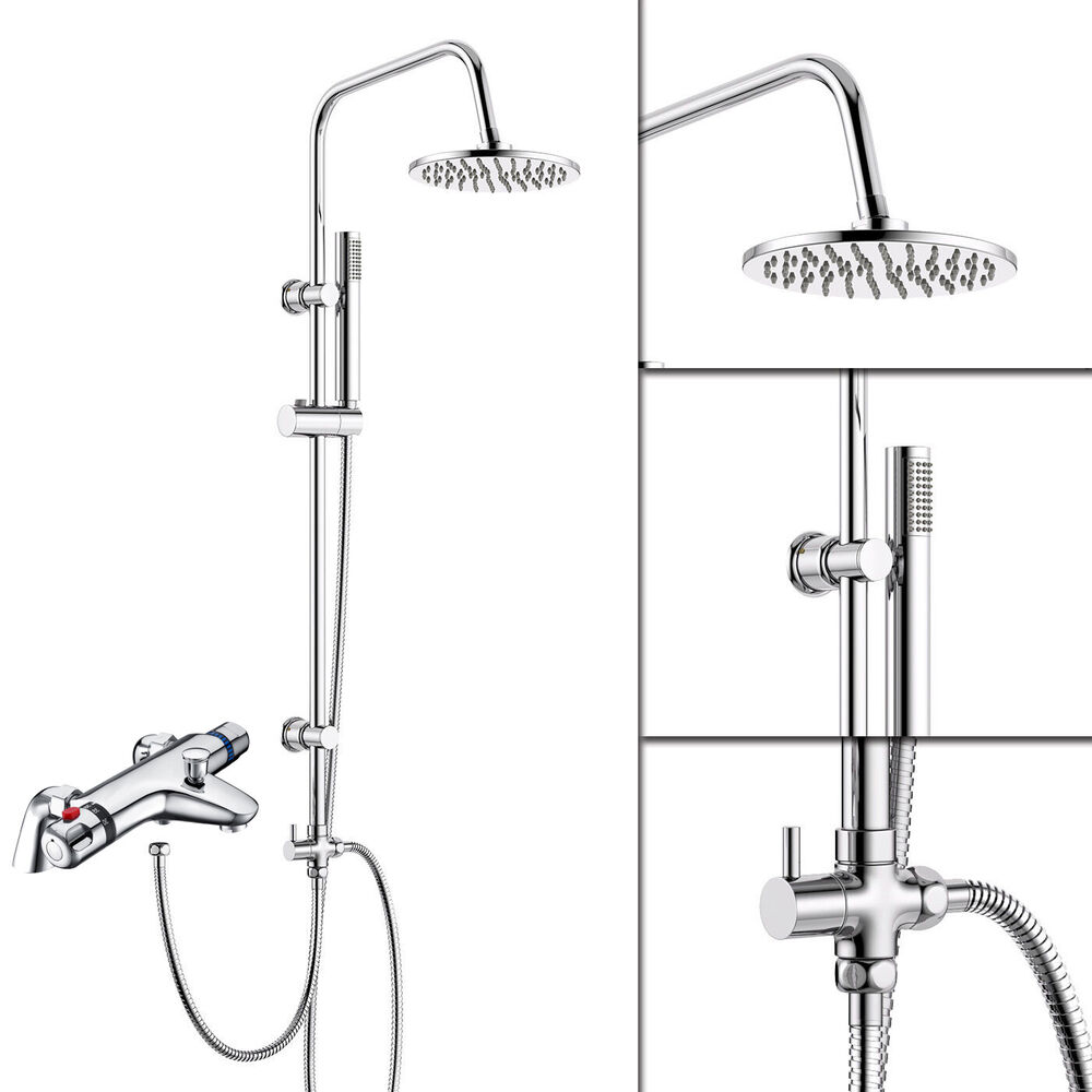 Chrome Thermostatic Bath Shower Mixer Tap With 3 Way Round