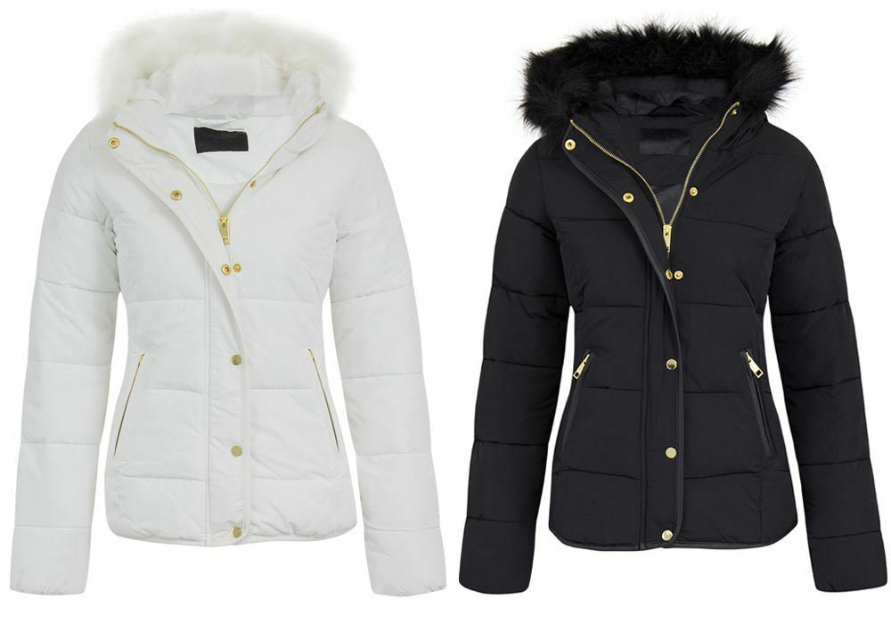 6f4224d6daa Details about Womens Ladies Quilted Padded Puffer Fur Collar Hooded Parka Jacket  Sizes 8-16
