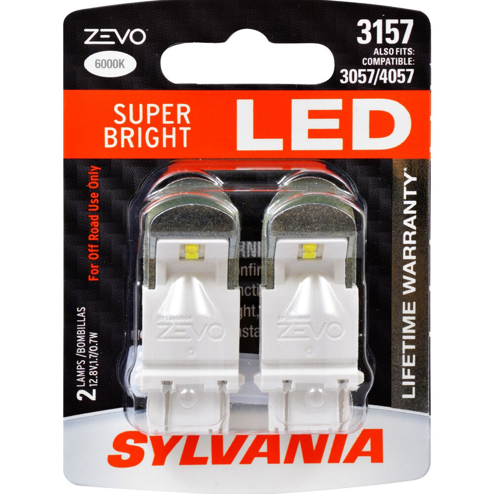 2 pk sylvania 3157 zevo led super bright 6000k automotive. Black Bedroom Furniture Sets. Home Design Ideas