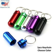 Waterproof Aluminum Medication Pill Container Box Bottle Case Keychain Holder