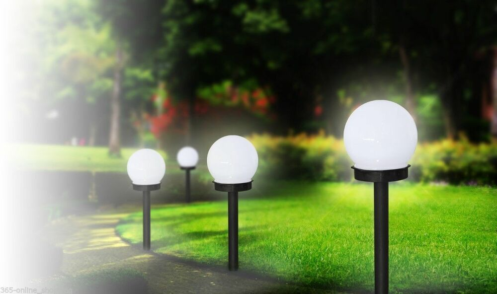 modern large outdoor solar powered white globe ball garden stake post lights uk ebay. Black Bedroom Furniture Sets. Home Design Ideas
