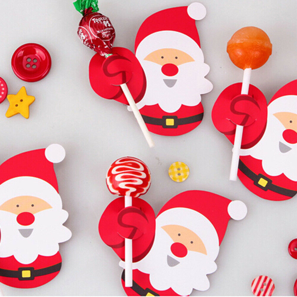Santa Claus Decorations Uk: 50X Christmas Xmas Santa Claus Penguin DIY Lollipop Stick