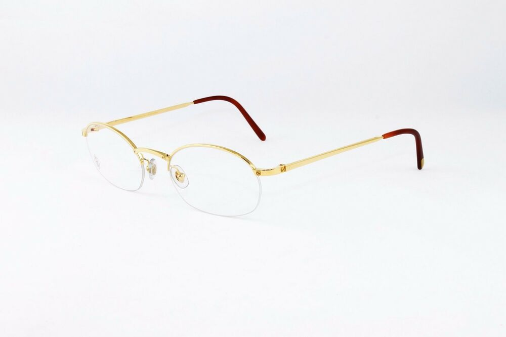 43a30a8b85b7 Details about Cartier Oval Half Rim Pale Gold Eyeglasses T8100608 Frames  Authentic France New