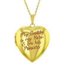 Princess Girl and Hero Daddy Pink Heart Photo Locket Girls Pendant Necklace 16