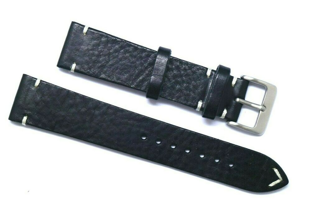 20mm vintage brown white genuine leather watch strap handmade silver tone buckle ebay for Leather strap watches