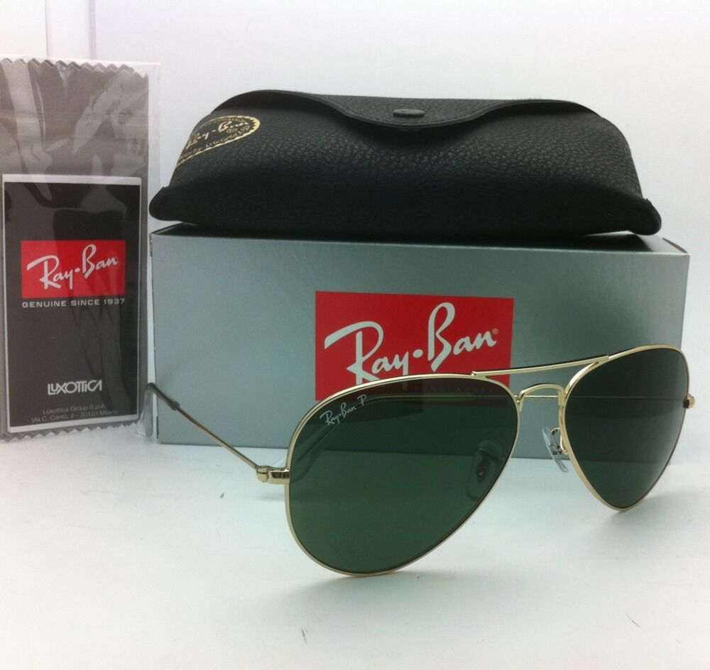 45fde3ff0b Polarized RAY-BAN Aviator Sunglasses RB 3025 001 58 58-14 Gold Frames Green  Lens