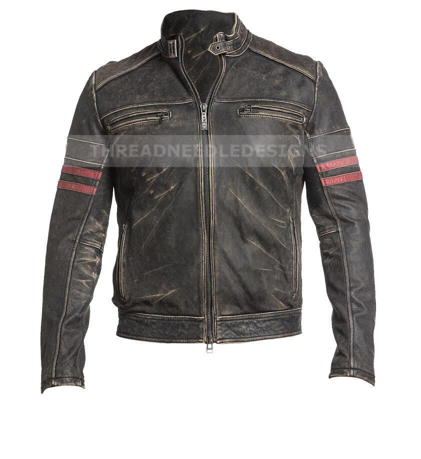 herren vintage motorrad cafe racer biker retro moto distressed lederjacke ebay. Black Bedroom Furniture Sets. Home Design Ideas