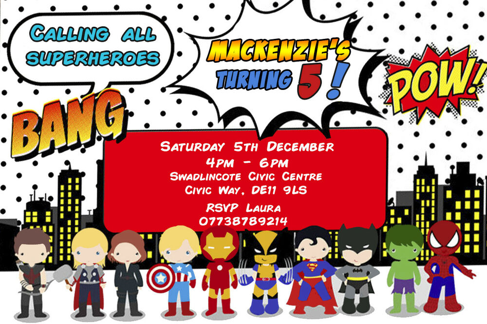 Details About Personalised Avengers DC Superhero Birthday Party Invites Inc Envelopes SG16