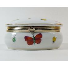 Ardalt Lenwile Oval Trinket Box Butterflies Ladybugs Gold Porcelain Hinged Colle