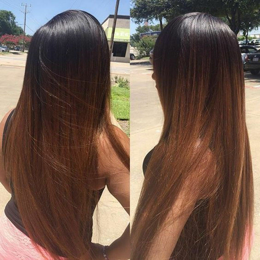 Heat Resistant Synthetic Fiber Dark Brown Ombre Straight Lace Front