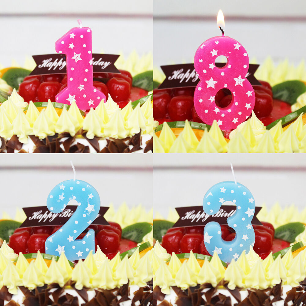 Details About Birthday Cake Numbers Decoration Candles Party Anniversary Pink Blue
