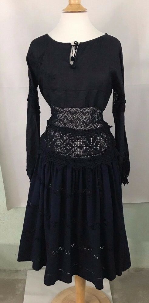 4dbefa5ed079 Details about Anthropologie Peasant Lace Midi Dress by Place Nationale $598  Sz M - NWT Navy