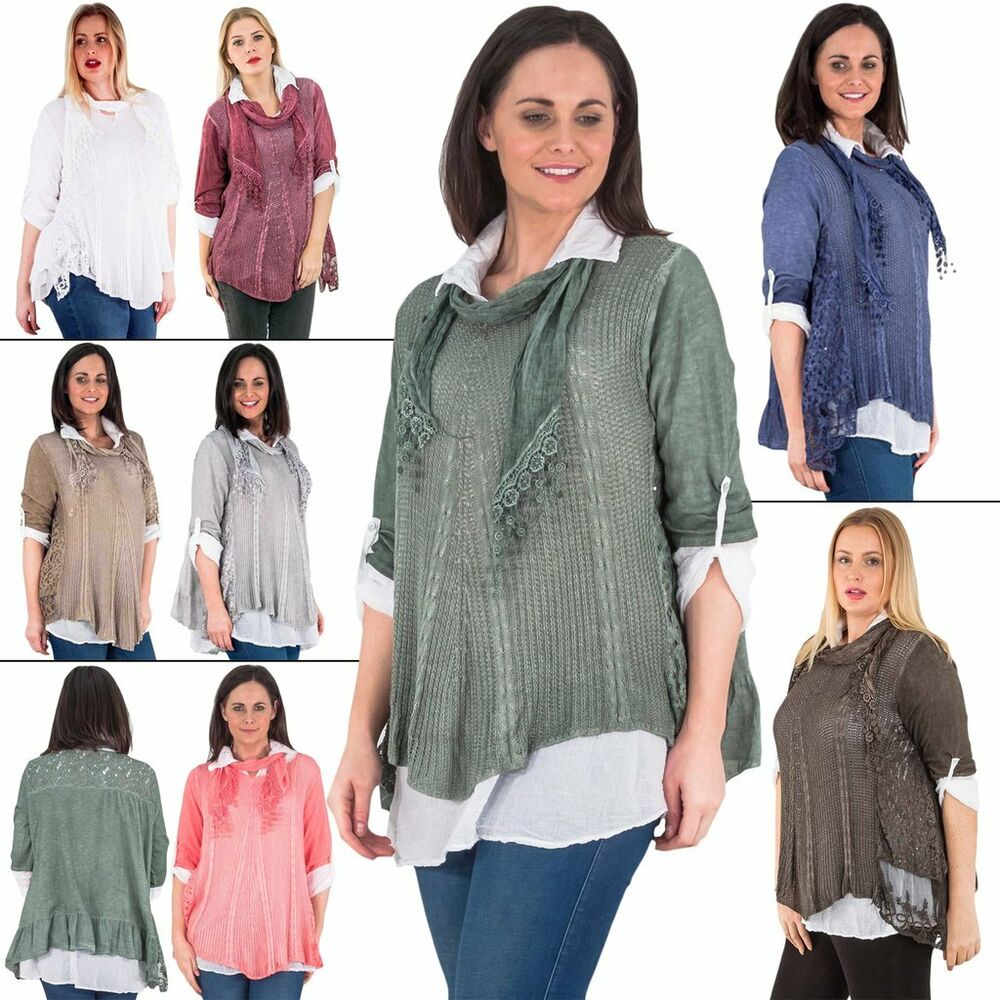 a288563f6c3 Details about Womens Italian Lagenlook Ladies Tunic Top Shirt Mesh Net Side  Panel Floral Scarf