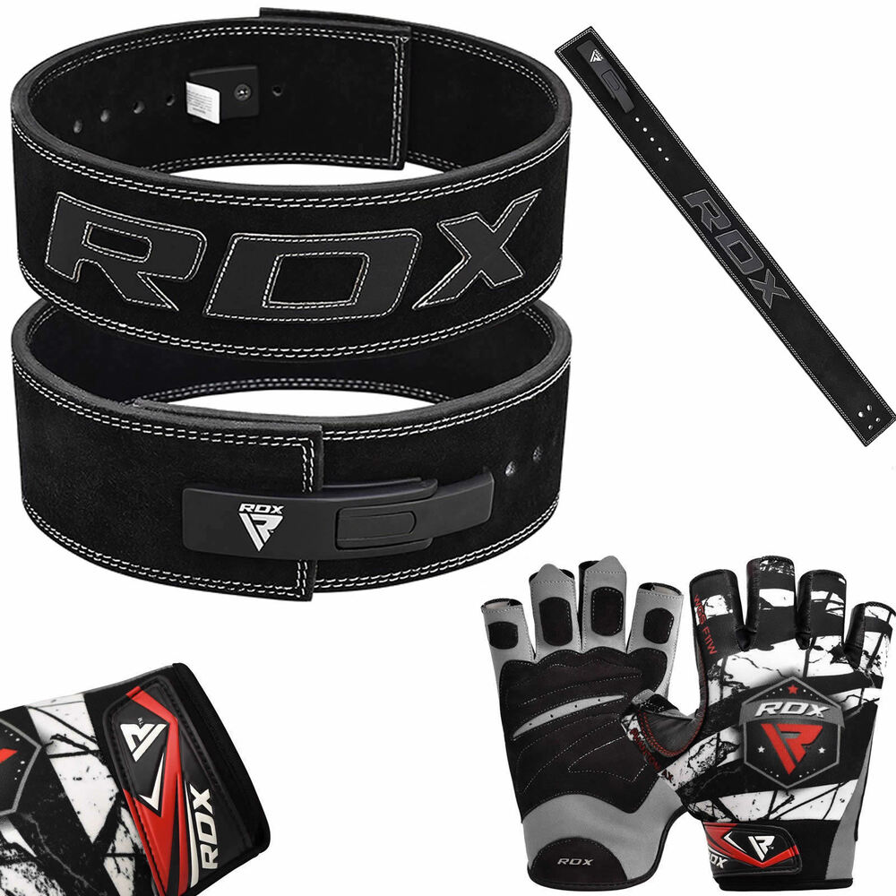 Rdx Weight Lifting Gloves Training Bodybuilding Gym Power: RDX Leather Leaver Weight Lifting Belt Gloves Training Gym