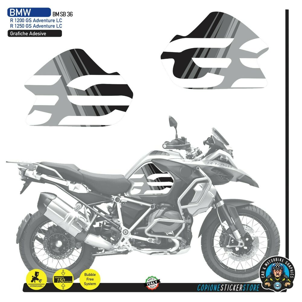 2 adesivi fianco serbatoio moto bmw r 1200 gs adventure lc 2018 grey line ebay. Black Bedroom Furniture Sets. Home Design Ideas