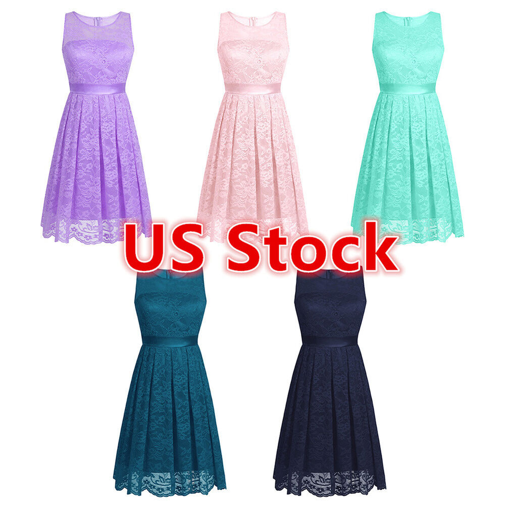 Womens Floral Lace Chiffon Bridesmaid Cocktail Evening Party Short ...