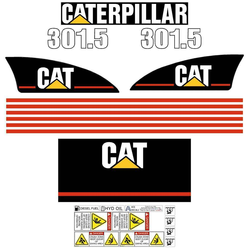Details about cat 301 5 301 8 303 5 decals stickers kit mini excavator