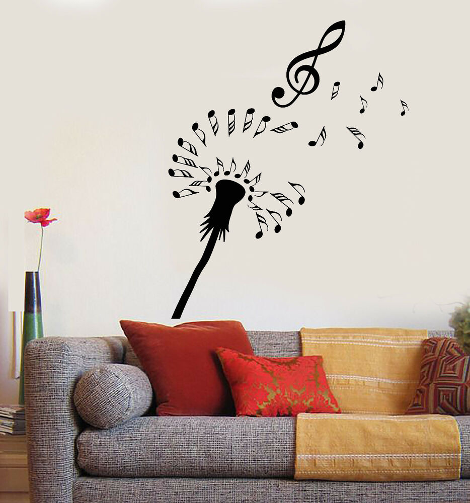Details about vinyl wall decal abstract dandelion notes music flower clef stickers 2168ig