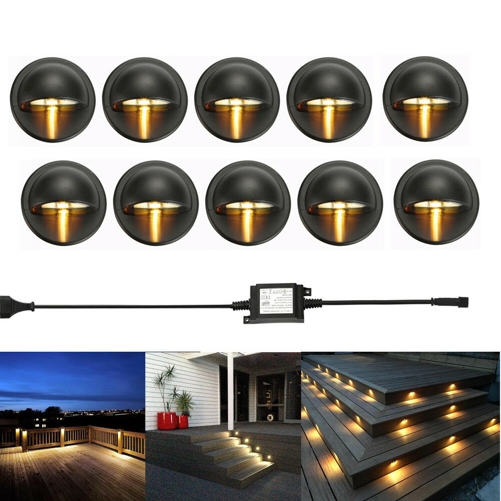10pcs Led Deck Step Stair Light Outdoor Landscape Yard