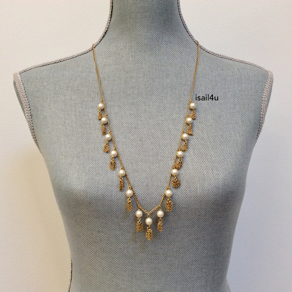 de23832b1c699d Details about J. Crew Factory Pearl And Chain Tassel Necklace NWT AUTHENTIC  With Pouch