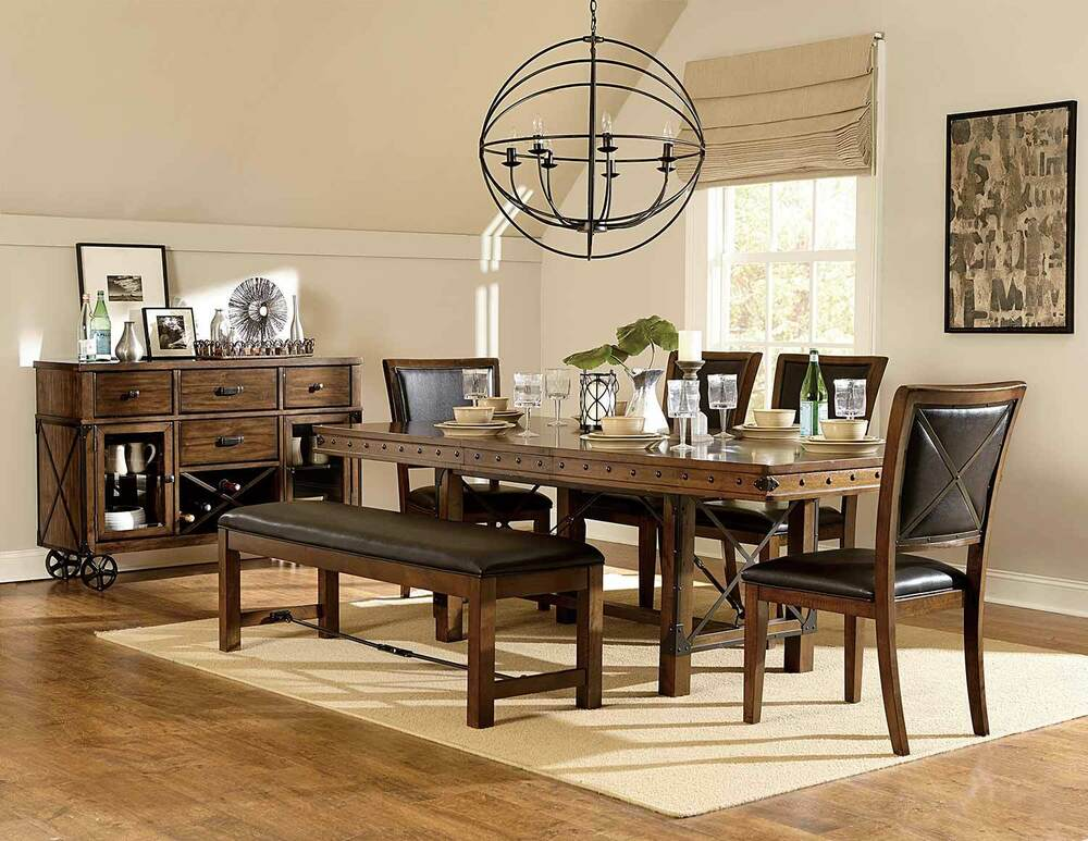 Details About 6pc Transitional Set Wooden Frame Metal X Back Chair Table Dining Room Furniture