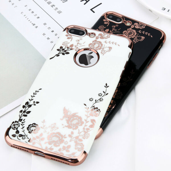 For iPhone 6 6s Plus 7 7 Plus Luxury Flower Pattern Silicone Phone Case Cover