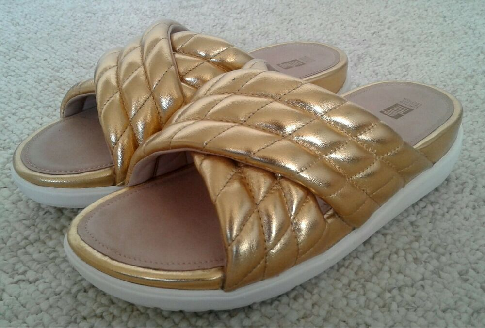 7032d3e8c1dec9 Details about NEW FITFLOP Sandals Limited Edition Metallic Gold Quilted  Leather Slides Sz 10
